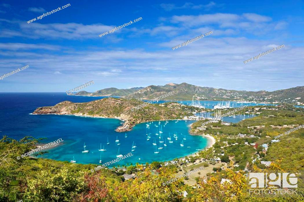 Stock Photo: View from Shirley Heights over English Harbor to Falmouth Harbor.