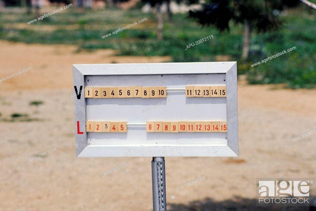 Stock Photo: manual scoreboard showing both teams scoring.