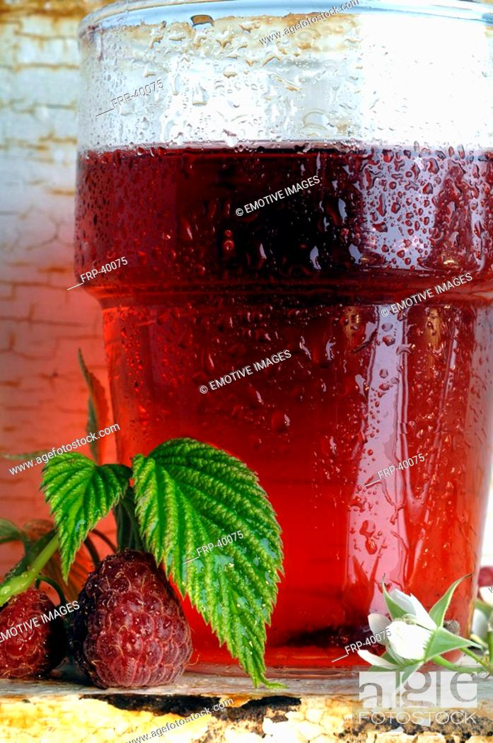 Stock Photo: Glass of raspberry tea.