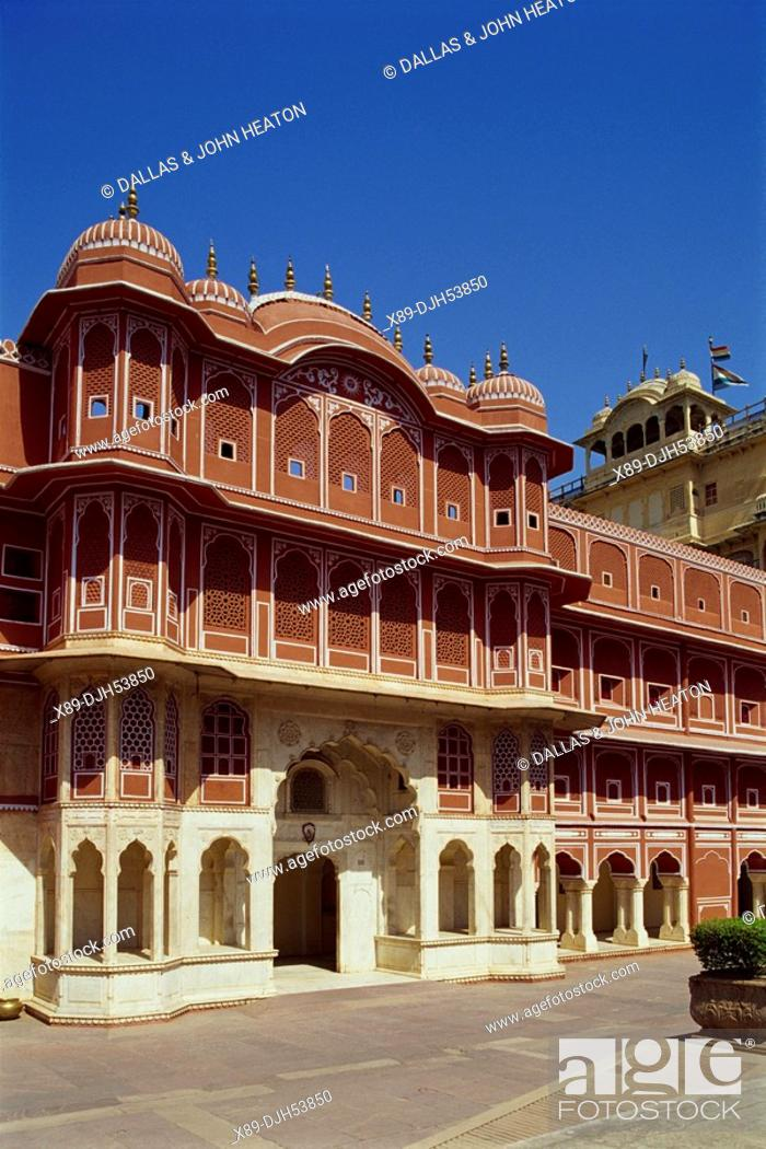 Stock Photo: Asia, India, Rajasthan, Jaipur, City Palace, Chandra Mahal.