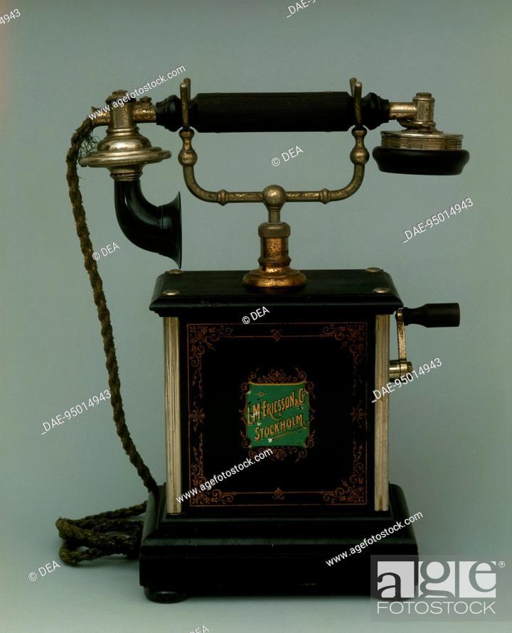 Stock Photo: Sweden, 20th century - Ericsson local battery telephone, circa 1910.  Private Collection.
