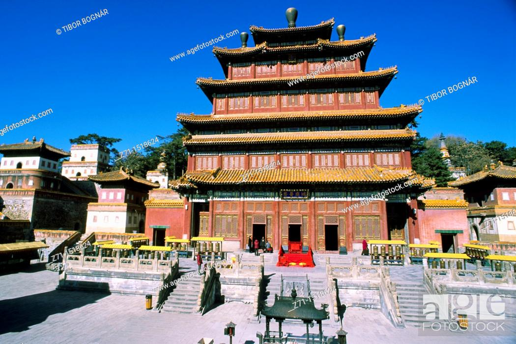 Stock Photo: China, Hebei province, Chengde, Puning Si temple.