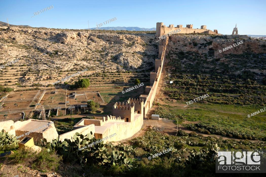 Stock Photo: Citadel and aerial view of the wall, Almeria, Andalucia, Spain, Europe.