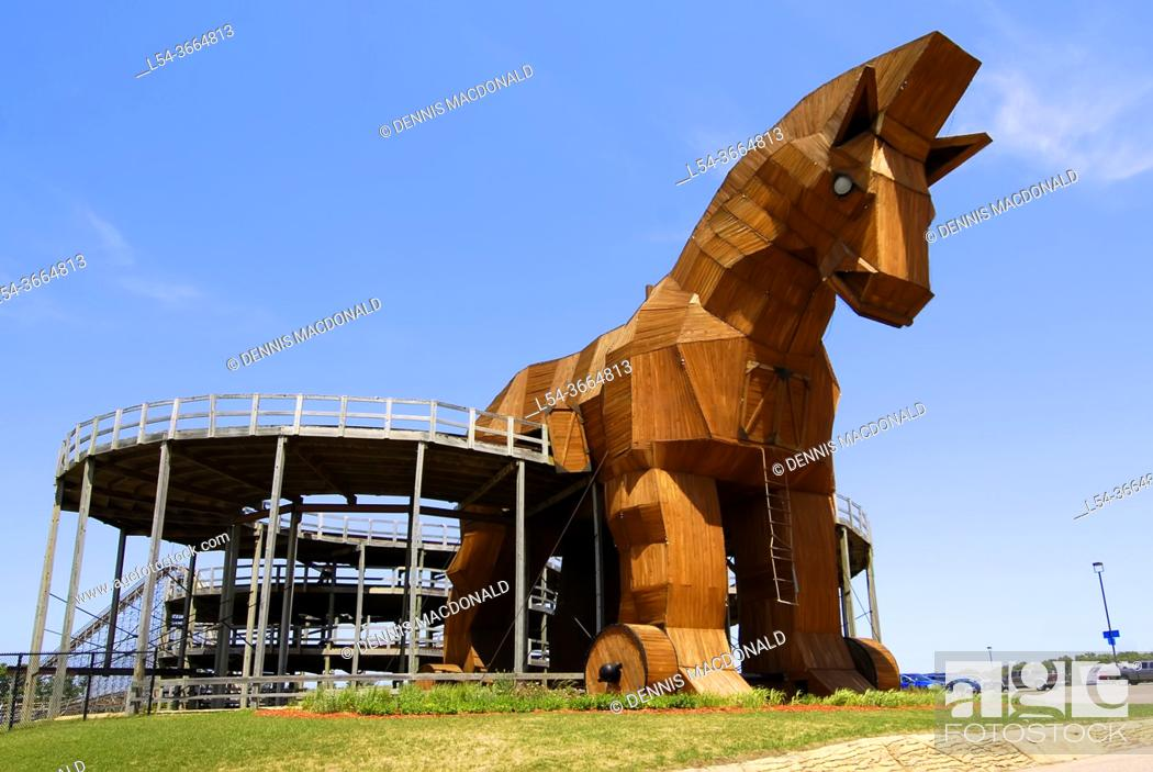 Stock Photo: Trojan Horse at the Mt Olympus Theme Park, Wisconsin Dells, WI is a major attraction at The Wisconsin Dells in Wisconsin and popular resort area only short.