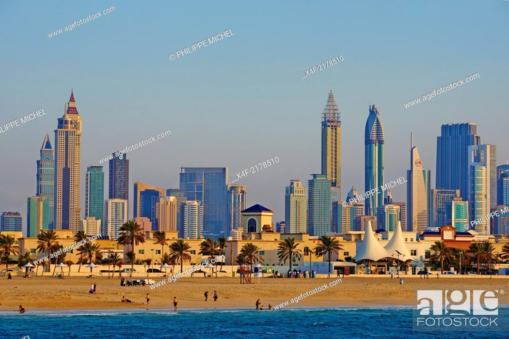 Stock Photo: United Arab Emirates, Dubai, Jumeirah neighbourhood, Jumeirah beach and cityscape.