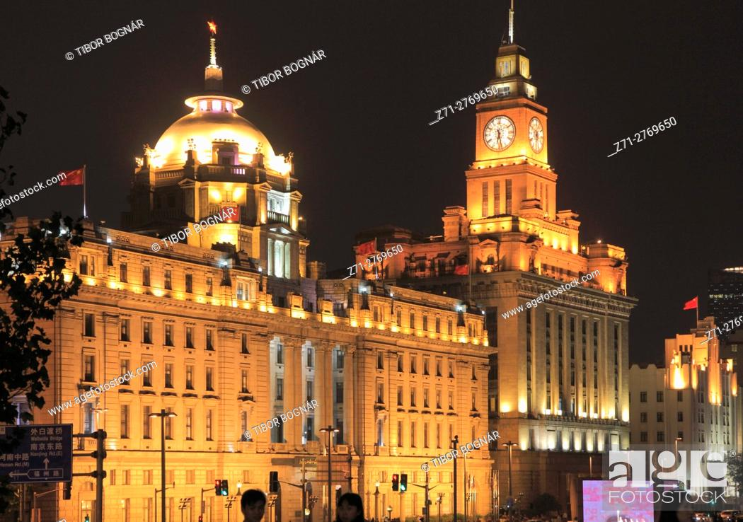 Stock Photo: China, Shanghai, The Bund, HSBC Building, Customs House, historic architecture, .