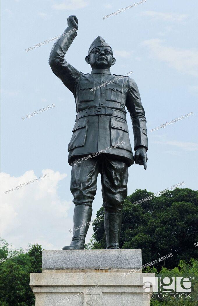 Stock Photo: Low angle view of a statue of Subhas Chandra Bose, Bangalore, Karnataka, India.