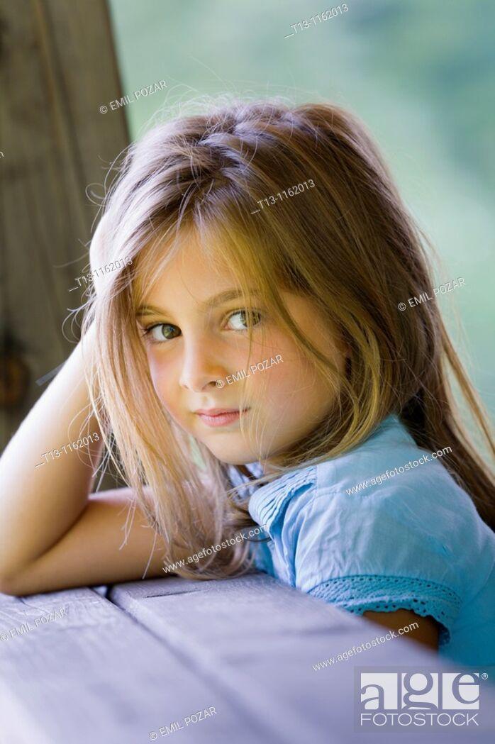 Stock Photo: Sweet 6-year old girl portrait.