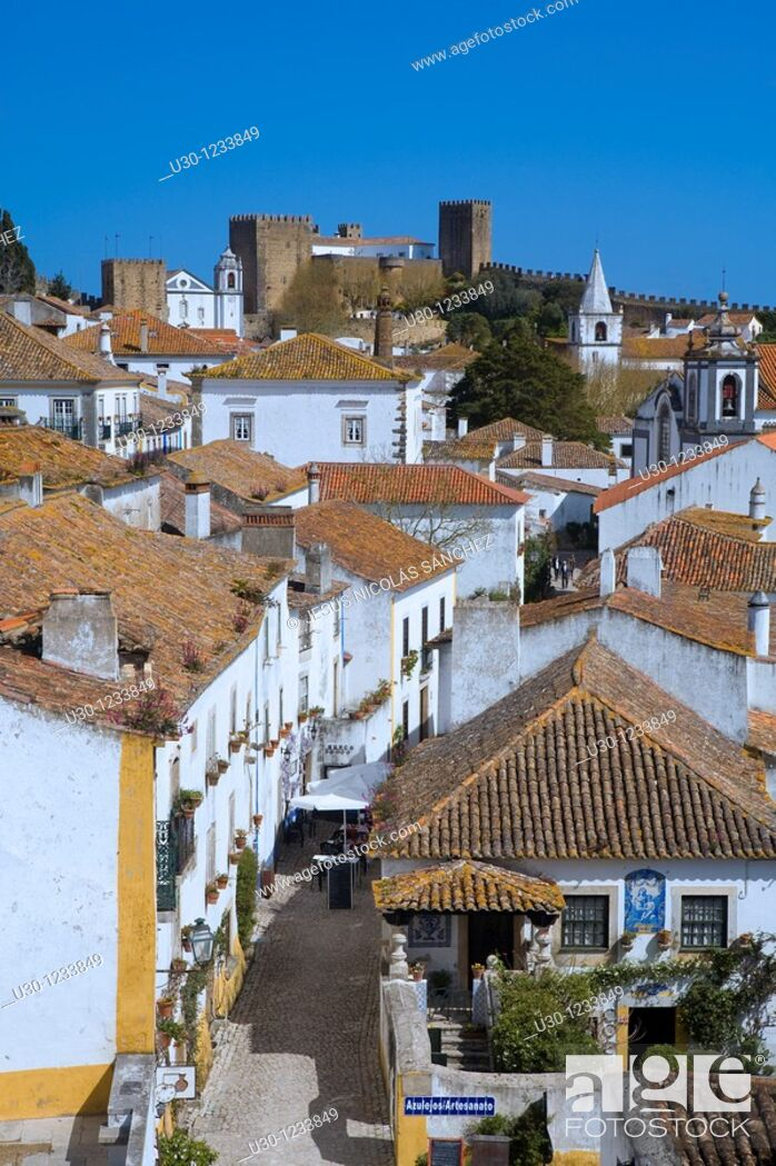 Stock Photo: Overview of the Historic Village of Obidos, in Estremadura  Leiria District  Center Region  Portugal.