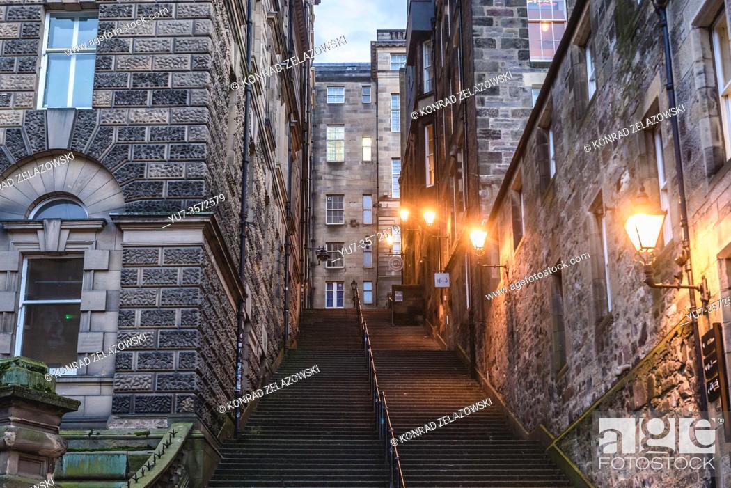 Stock Photo: Warriston Close stairs in Edinburgh, the capital of Scotland, part of United Kingdom.