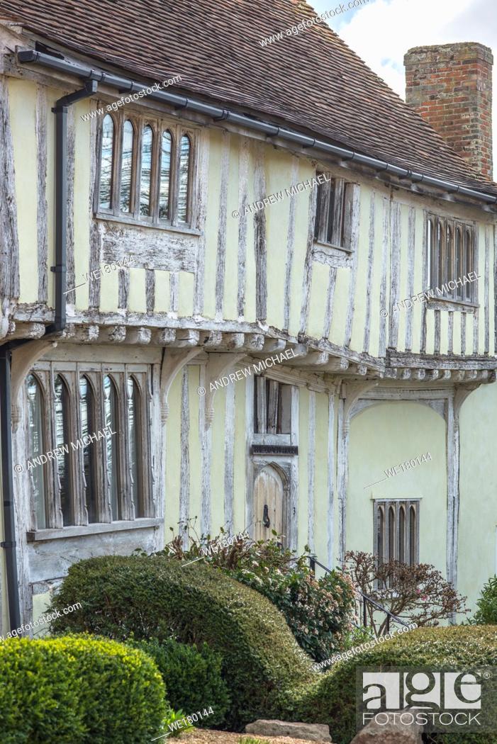 Stock Photo: Tudor Half-timbered houses in the village of Lavenham, Suffolk, England, United Kingdom, Europe.