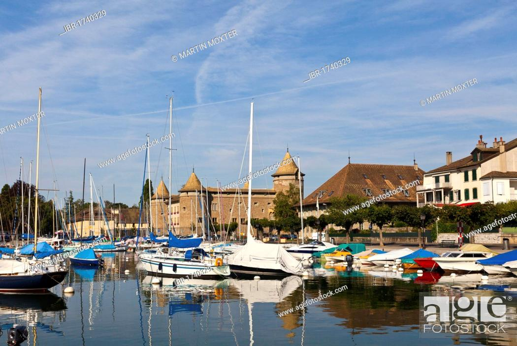 Stock Photo: Morges harbour, Morges Castle at the back, canton of Vaud, Lake Geneva, Switzerland, Europe.