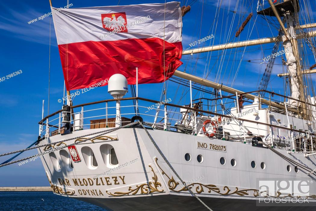 Stock Photo: Sail training ship Dar Mlodziezy (Gift of the Youth) in Port of Gdynia city, Pomeranian Voivodeship of Poland.