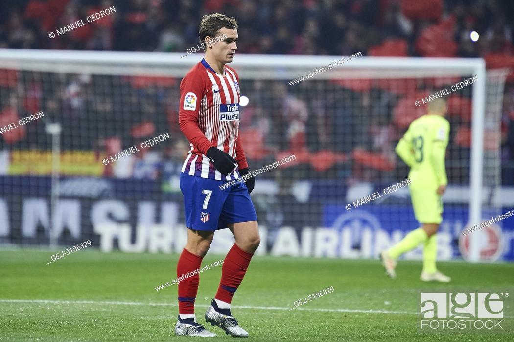 Stock Photo: Antoine Griezmann (forward; Atletico Madrid) before La Liga match between Atletico de Madrid and F.C. Barcelona at Wanda Metropolitano on November 24.