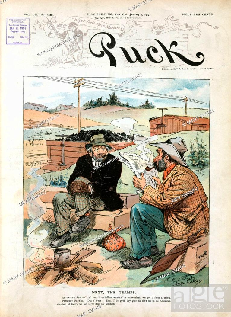 Next, the tramps  Illustration shows two tramps sitting on railroad