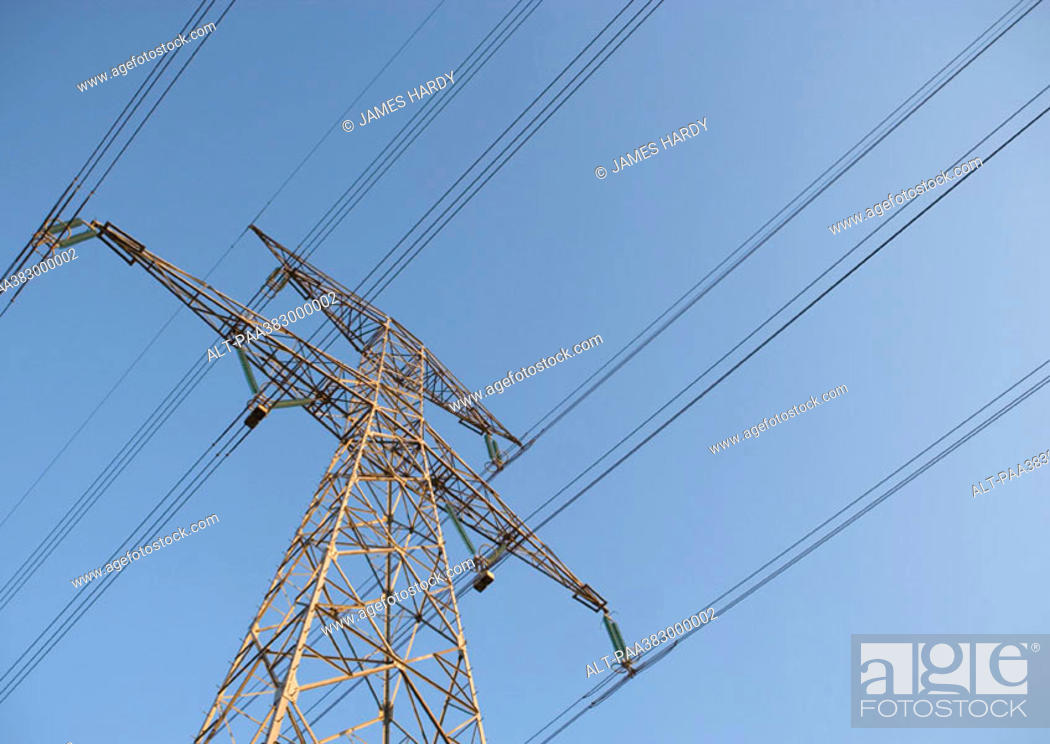 Stock Photo: Electric pylon, low angle view.