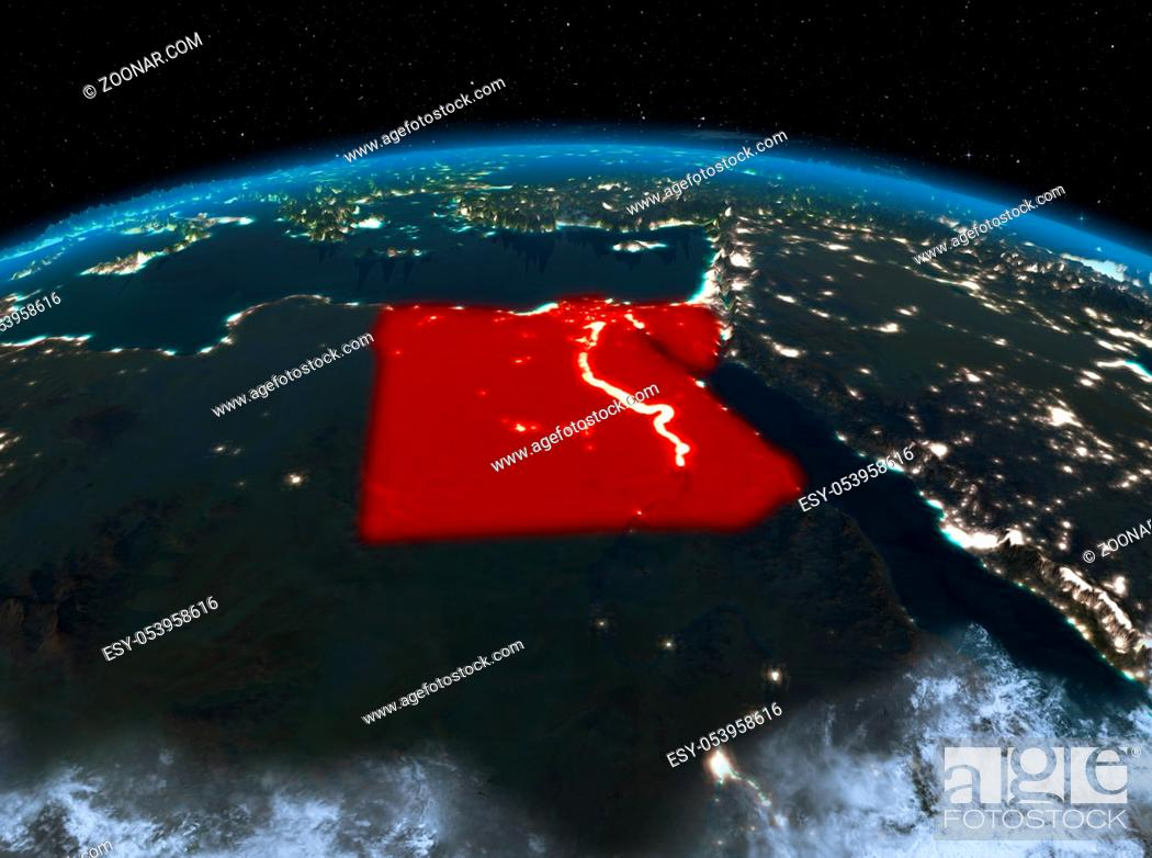 Stock Photo: Satellite night view of Egypt highlighted in red on planet Earth with clouds. 3D illustration. Elements of this image furnished by NASA.