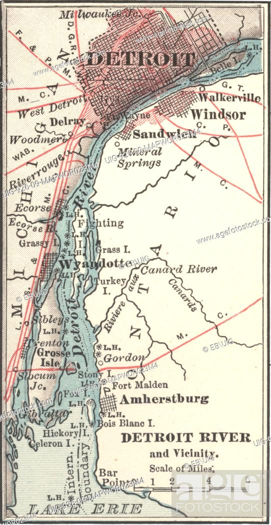 Map Of Detroit Michigan And The Detroit River Circa 1900 Stock