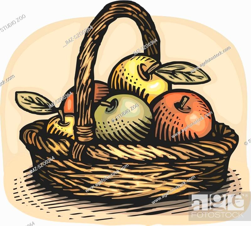 Stock Photo: Drawing of a basket of apples.
