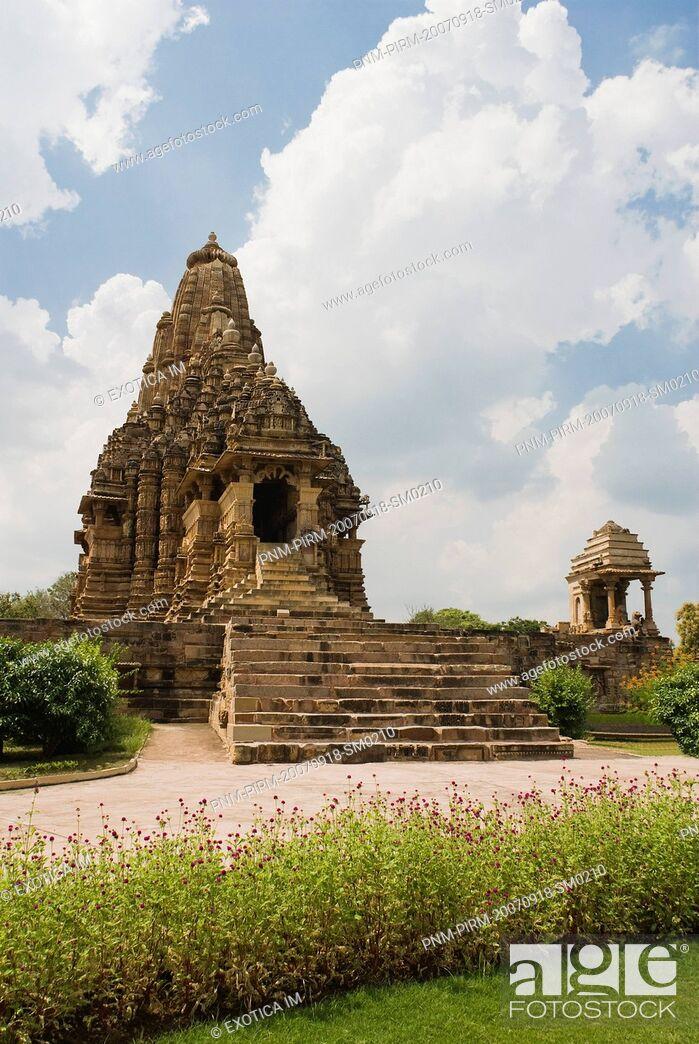 Stock Photo: Architectural details of a temple, Kandariya Mahadeva Temple, Khajuraho, Chhatarpur District, Madhya Pradesh, India.