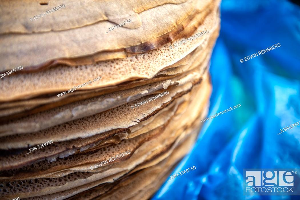 Stock Photo: Close up of stack of Injera or Ethiopian flatbread, Debre Berhan, Ethiopia.