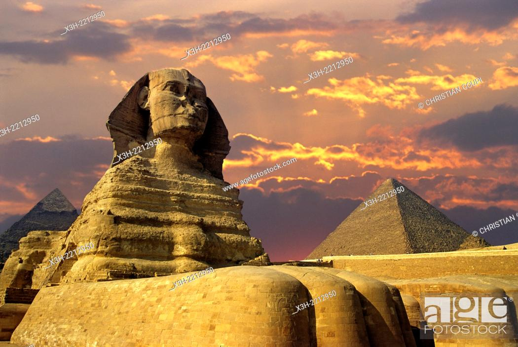 Stock Photo: Great Sphinx of Giza, Egypt, Africa.