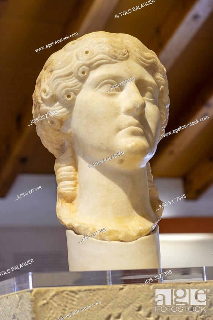 Stock Photo: retrato de Agrippina Maior, nieta del emperador Augusto, siglo I, Museo-Centro de Interpretación del parque arqueológico de Segóbriga, Saelices, Cuenca.