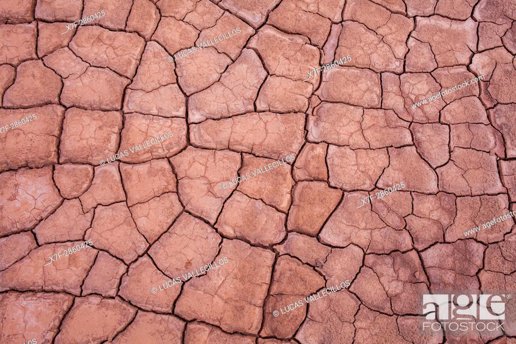 Stock Photo: Detail, dry cracked ground, in Valle de la Muerte (Valley of the Death), Atacama desert. Region de Antofagasta. Chile.