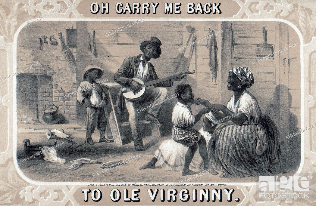 Stock Photo: Tobacco package label showing African American banjo player, woman, and children in cabin. Original title: 'Oh carry me back to ole Virginny', by Robertson.
