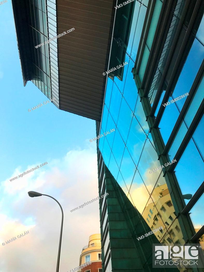 Stock Photo: Glass facade of Sports Palace, Wizink Center. Goya street, Madrid, Spain.