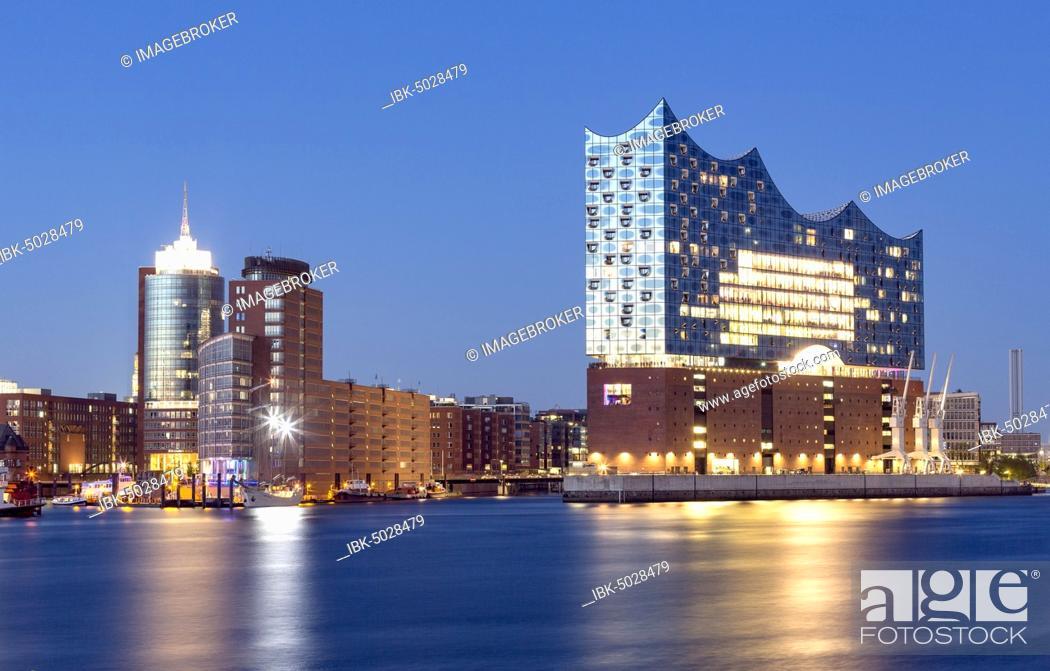 Stock Photo: Illuminated Elbe Philharmonic Hall during blue hour, Speicherstadt, Kaiserkai, Hafencity, Hamburg, Germany, Europe.