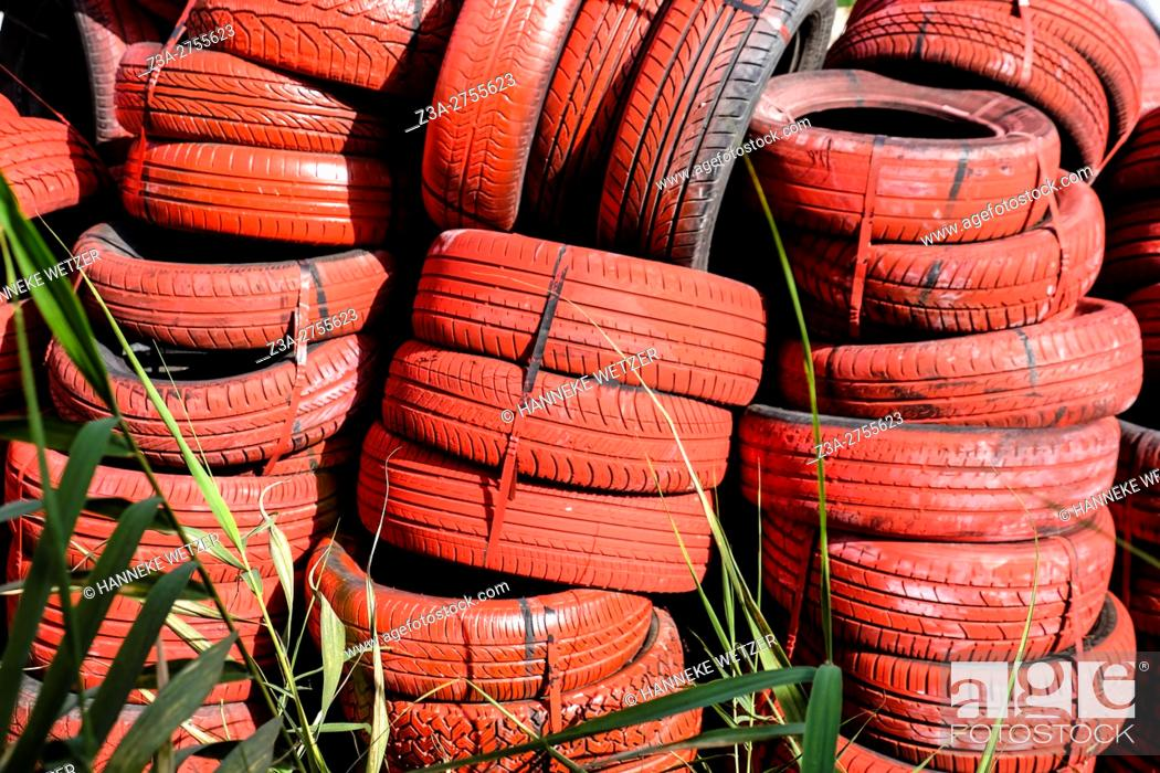 Stock Photo: Tile of red tires in the streets of Trapani, Sicily, Italy, Europe.