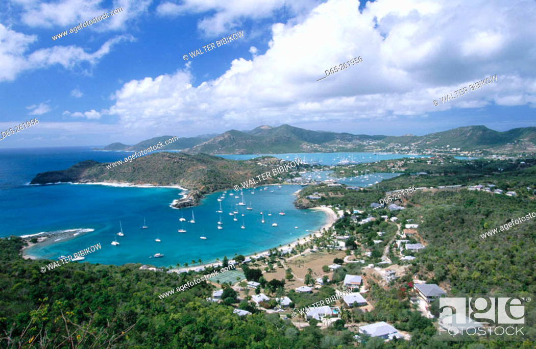 Stock Photo: Historic Nelson's Dockyard. View from Shirley Heights. Antigua. Antigua and Barbuda. West Indies. Caribbean.