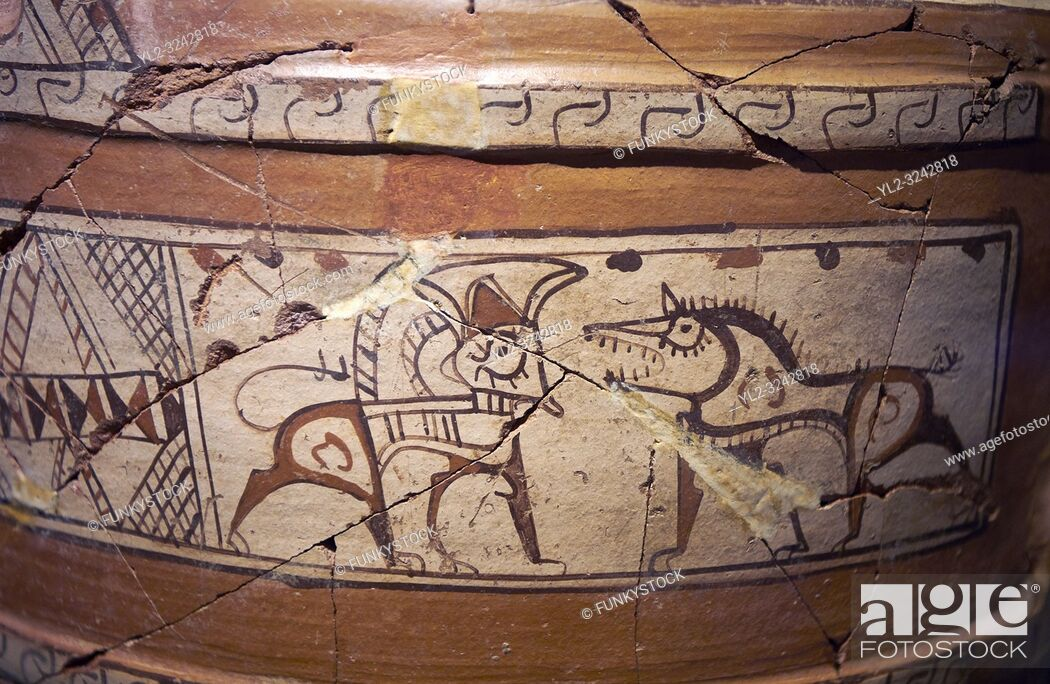 Stock Photo: Close up of a Phrygian terra cotta large jug with handles, decorated with animals, from Gordion. Phrygian Collection, 6th century BC - Museum of Anatolian.
