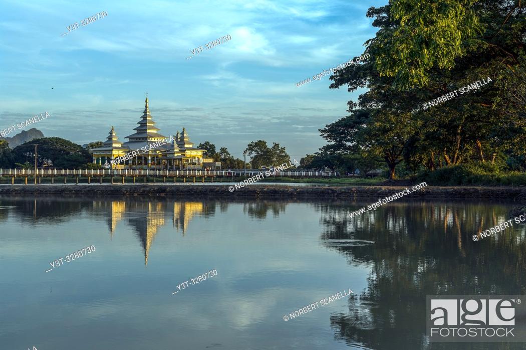 Stock Photo: Myanmar (formerly Burma). Kayin State (Karen State). Hpa An. Kyauk Kalap or Kyaik Ka Lat monastery.