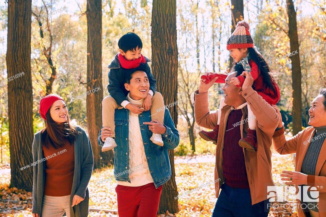 Stock Photo: Happy family outdoor outing.