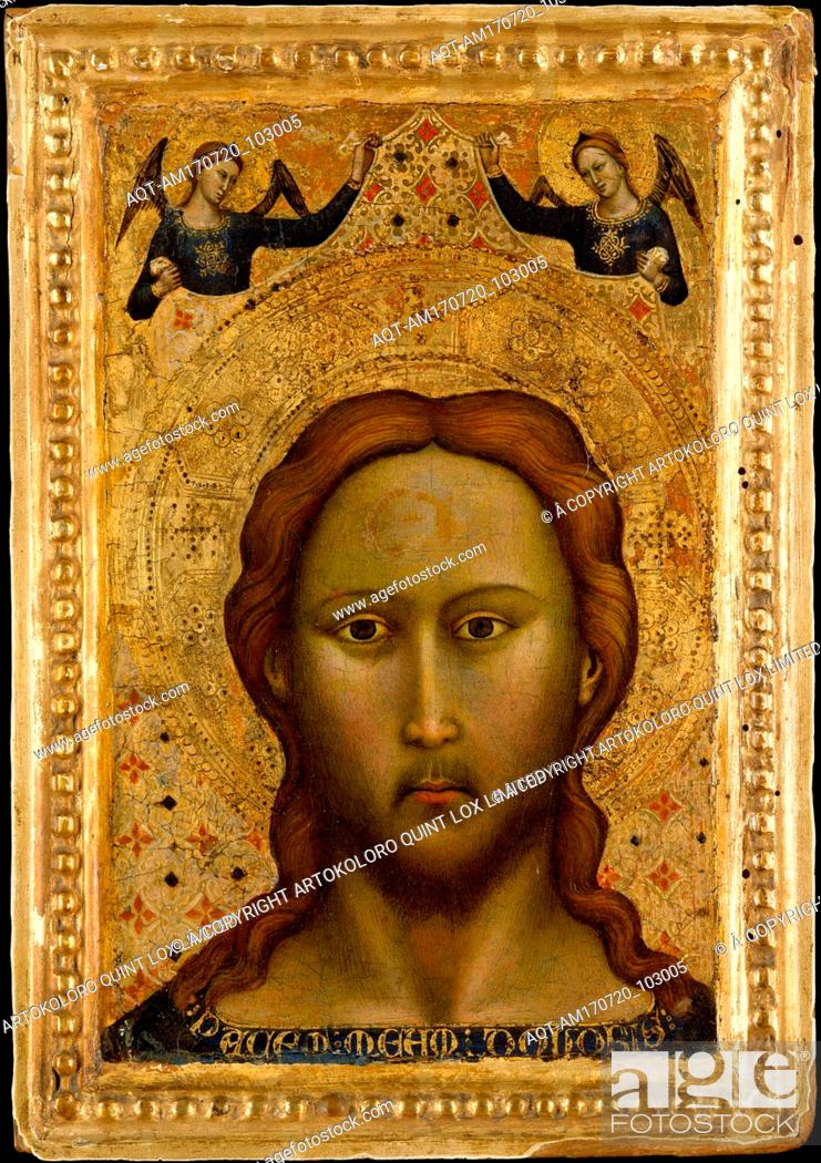 Stock Photo: Head of Christ, Tempera on wood, gold ground, Overall, with engaged frame, 11 5/8 x 8 1/8 in. (29.5 x 20.6 cm); painted surface 9 5/8 x 6 1/8 in. (24.