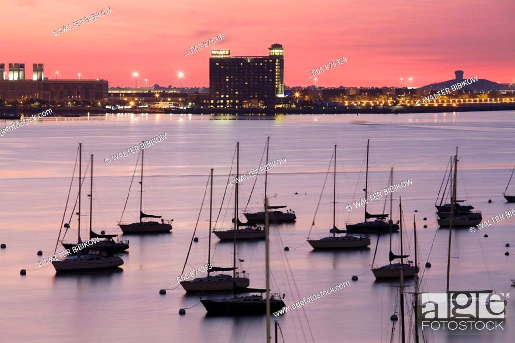 Stock Photo: Boston Harbor and Logan Airport at dawn, Boston, Massachusetts, USA.