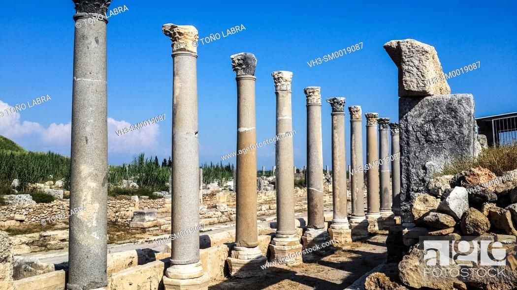 Stock Photo: Perge Agora. Old capital of Pamphylia Secunda. Ancient Greece. Asia Minor. Turkey.