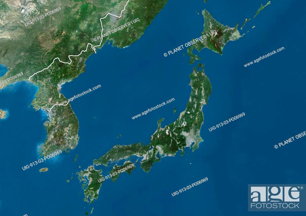 Imagen: Satellite view of Japan and Korean Peninsula (with country boundaries). This image was compiled from data acquired by Landsat satellites.