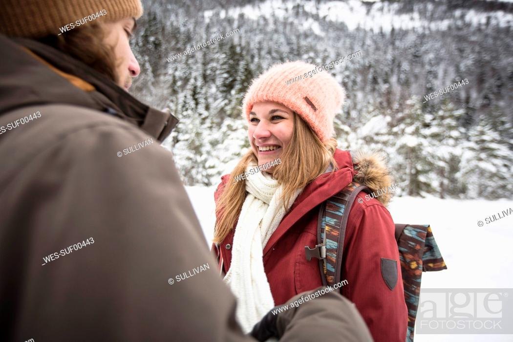 Photo de stock: Happy couple on a trip in winter.