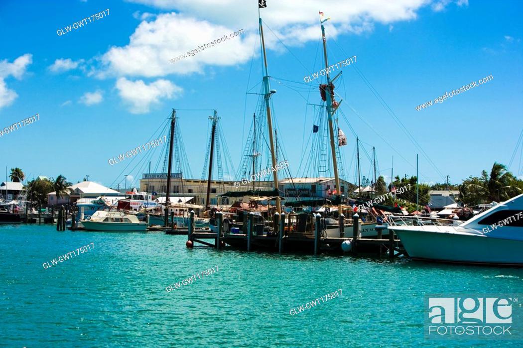 Stock Photo: Boats moored at a harbor, Key West, Florida, USA.