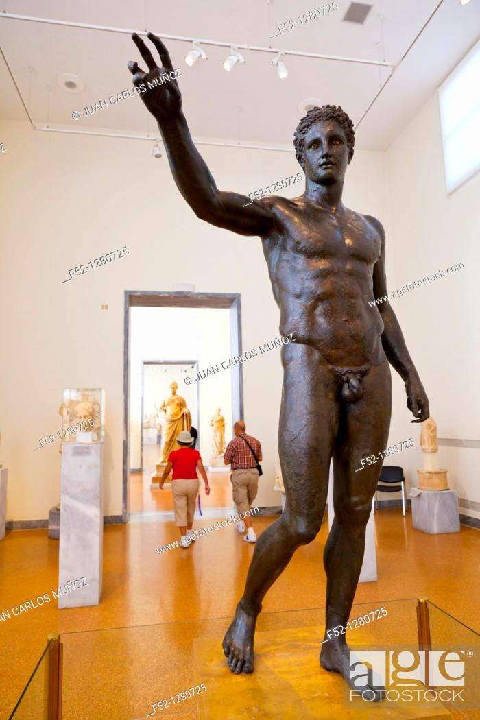Stock Photo: Antikythera Ephebe bronze statue in the National Archaeological Museum, Athens, Greece.
