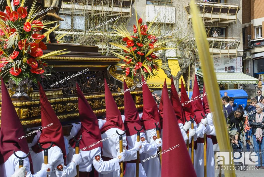 Stock Photo: Cuenca city, Spain.14 th April, 2019. Parade procession in Palm Sunday Hosanna on 14 th April 2019.