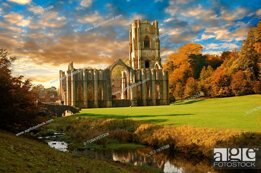 Stock Photo: Fountains Abbey & Studley Royal water gardens, founded in 1132, is one of the largest and best preserved ruined Cistercian monasteries in England  The ruined.