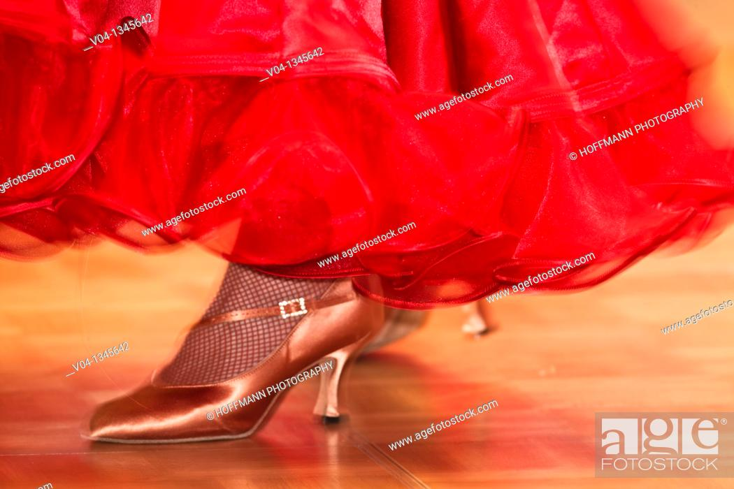 Stock Photo: Female ballroom dancer at a dancing competition, Germany, Europe.