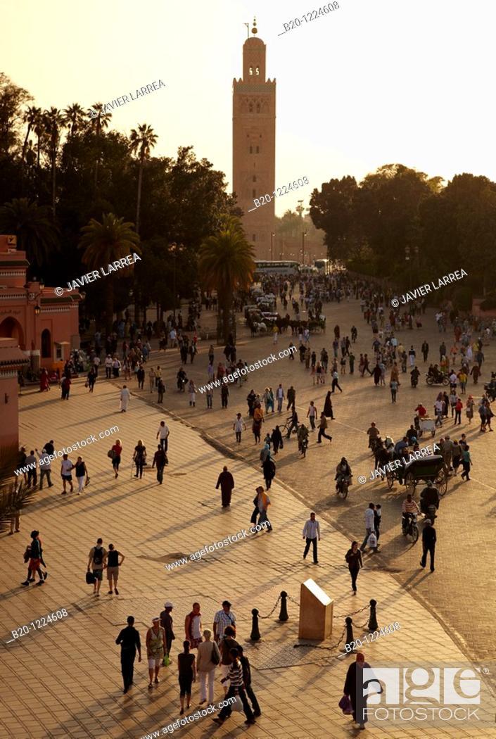 Stock Photo: Djemaa El Fna Square, Koutoubia Mosque, Marrakech, High Atlas, Morocco.