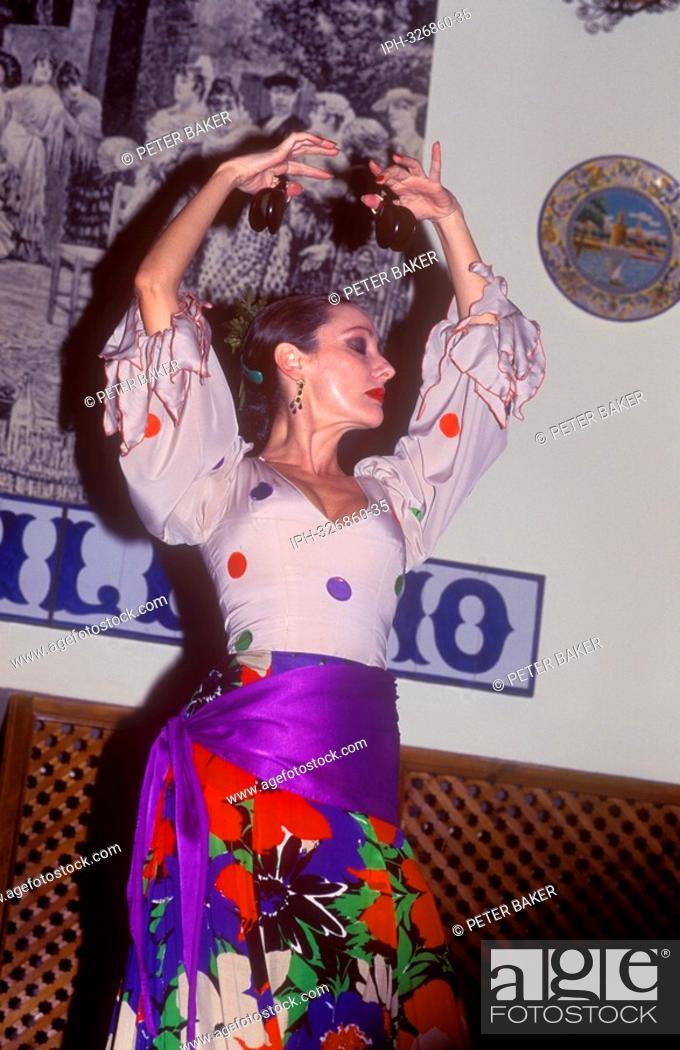 Seville Flamenco Folklore Show At El Patio Sevillano Stock Photo