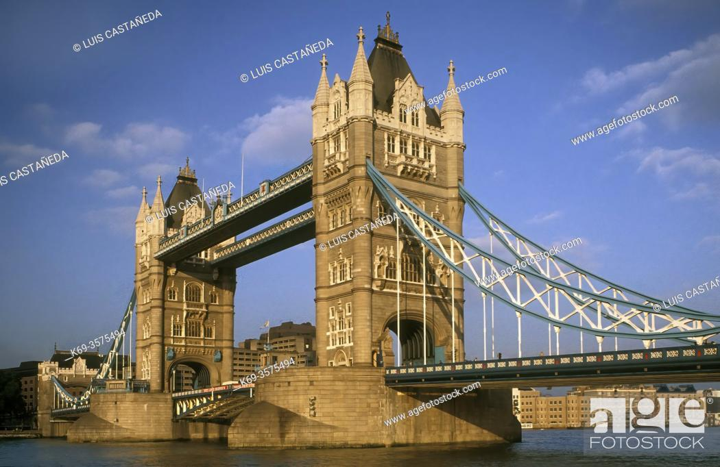Stock Photo: The Tower Bridge. . The Thames River. London. . U. K.