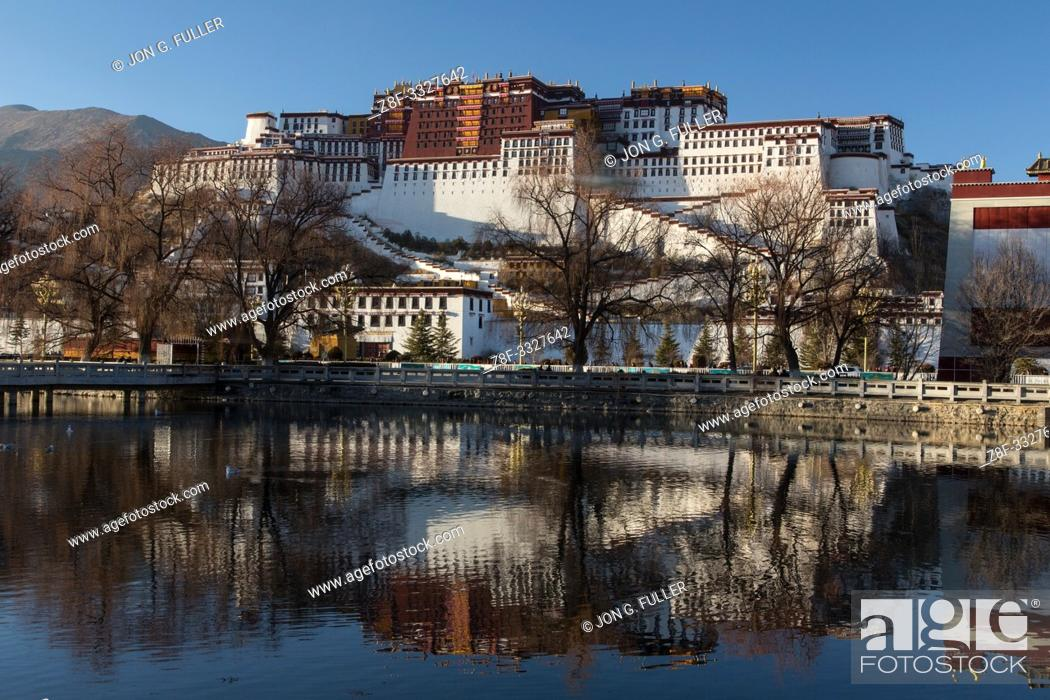 Stock Photo: The Potala Palace was founded about 1645 A. D. and was the former summer palace of the Dalai Lama and is a part of the Historic Ensemble of the Potala Palace.